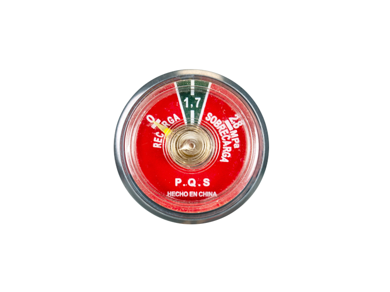 BOURDON TUBE PRESSURE GAUGE FOR THE BACK INSTALLATION OF FIRE EXTINGUISHERS